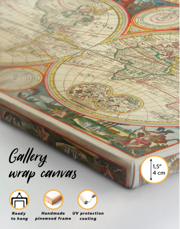 Antique Hemisphere World Map Canvas Wall Art - image 3