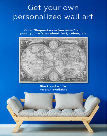 Antique Hemisphere World Map Canvas Wall Art - image 5