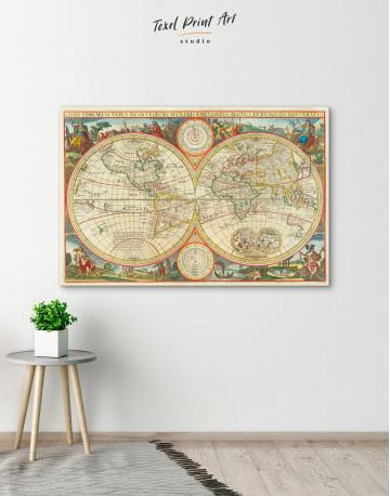 Antique Hemisphere World Map Canvas Wall Art - image 8