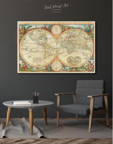 Antique Hemisphere World Map Canvas Wall Art - image 7