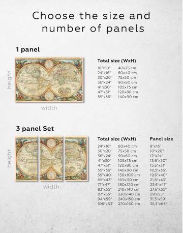Antique Hemisphere World Map Canvas Wall Art - image 4