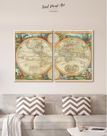 Antique Hemisphere World Map Canvas Wall Art - image 9