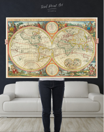 Antique Hemisphere World Map Canvas Wall Art - image 2