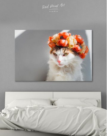 Calico Cat with Flowers Canvas Wall Art