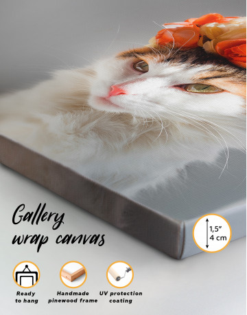 Calico Cat with Flowers Canvas Wall Art - image 2