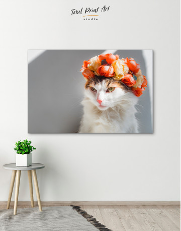 Calico Cat with Flowers Canvas Wall Art - image 4