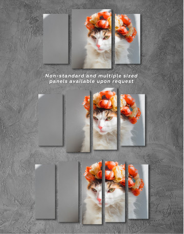 Calico Cat with Flowers Canvas Wall Art - image 5