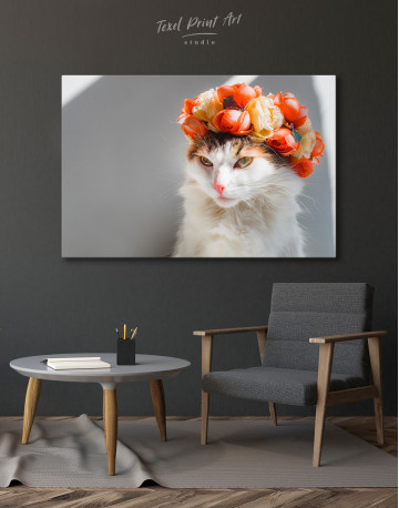 Calico Cat with Flowers Canvas Wall Art - image 6