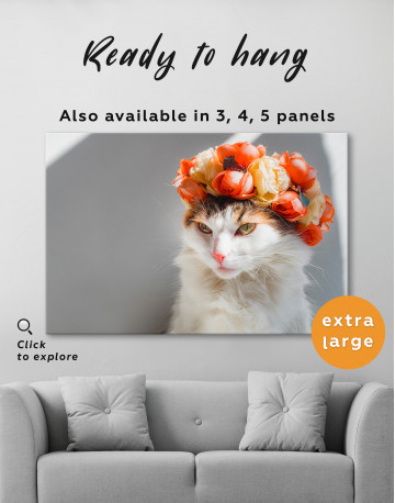 Calico Cat with Flowers Canvas Wall Art - image 7