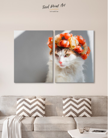 Calico Cat with Flowers Canvas Wall Art - image 1