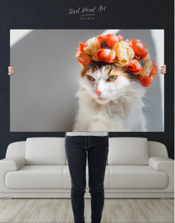 Calico Cat with Flowers Canvas Wall Art - image 10