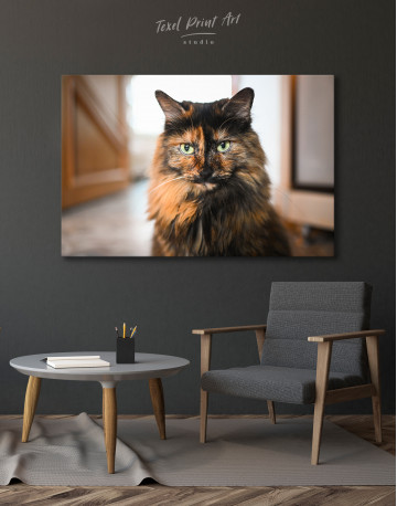 Fluffy Black Calico Cat Canvas Wall Art - image 4