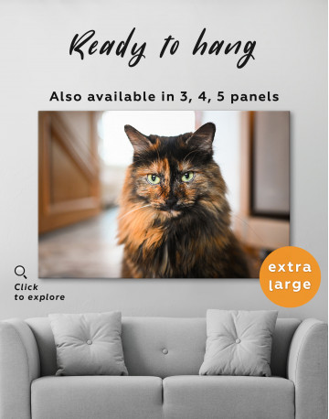 Fluffy Black Calico Cat Canvas Wall Art - image 3