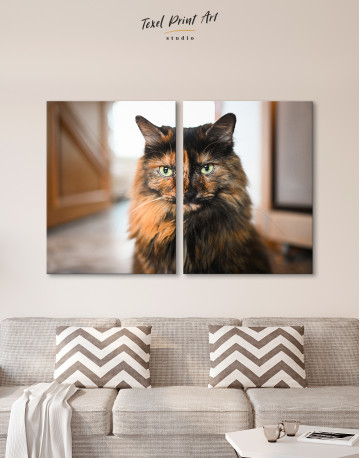 Fluffy Black Calico Cat Canvas Wall Art - image 9