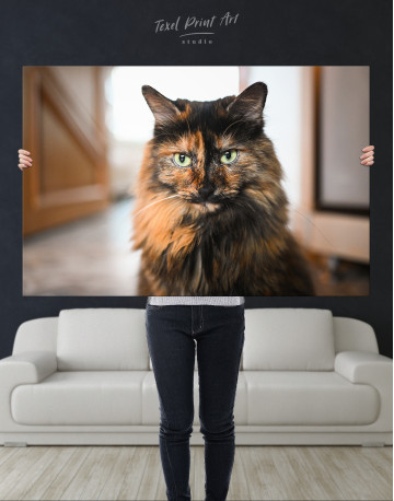Fluffy Black Calico Cat Canvas Wall Art - image 10