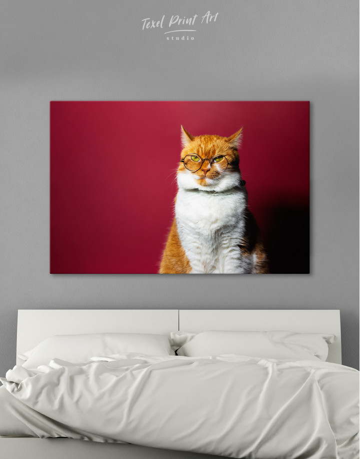 Cat Portrait with Glasses Canvas Wall Art