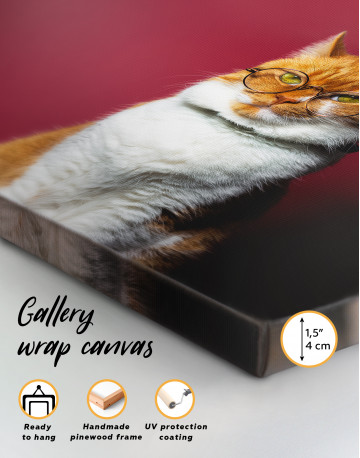 Cat Portrait with Glasses Canvas Wall Art - image 8