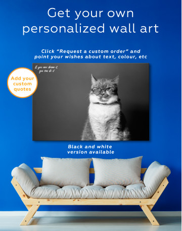Cat Portrait with Glasses Canvas Wall Art - image 1