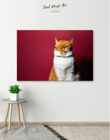Cat Portrait with Glasses Canvas Wall Art - image 2