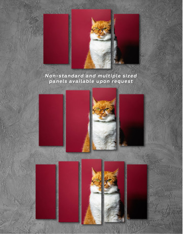 Cat Portrait with Glasses Canvas Wall Art - image 3