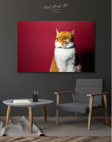 Cat Portrait with Glasses Canvas Wall Art - image 4