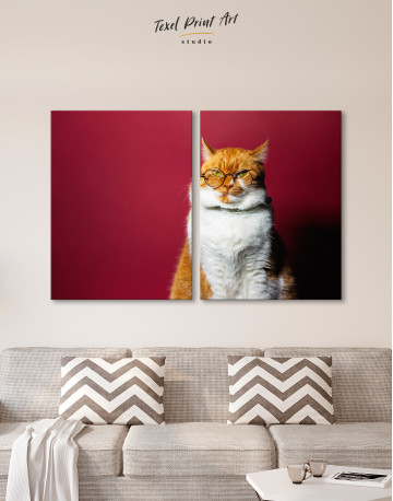 Cat Portrait with Glasses Canvas Wall Art - image 9
