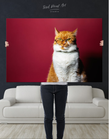 Cat Portrait with Glasses Canvas Wall Art - image 10