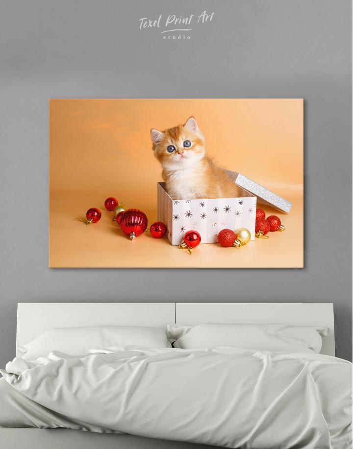 Christmas Box British Kitten Canvas Wall Art