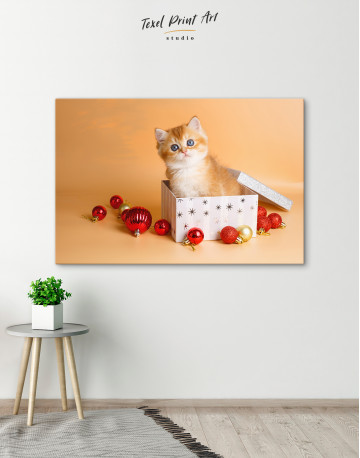 Christmas Box British Kitten Canvas Wall Art - image 2