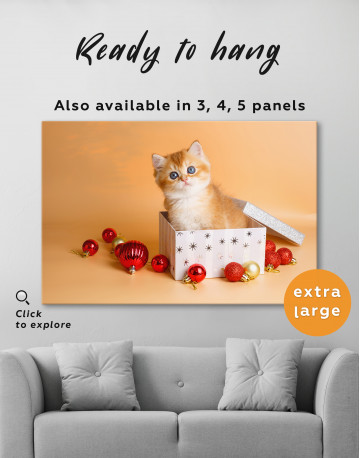 Christmas Box British Kitten Canvas Wall Art - image 5