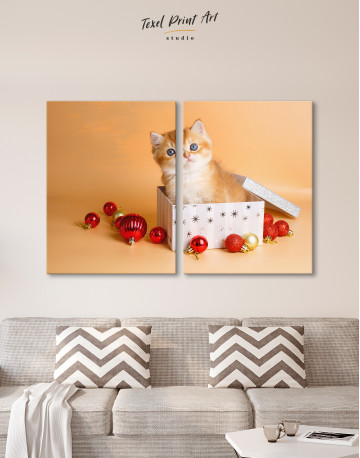 Christmas Box British Kitten Canvas Wall Art - image 10