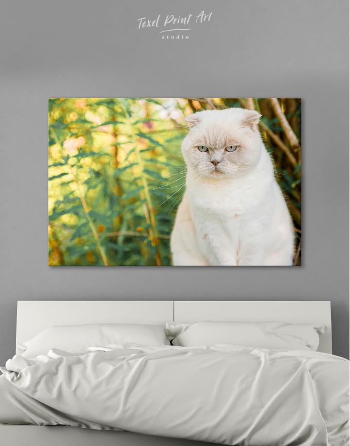 White Bamboo Cat Canvas Wall Art