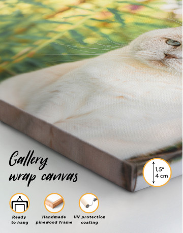 White Bamboo Cat Canvas Wall Art - image 2