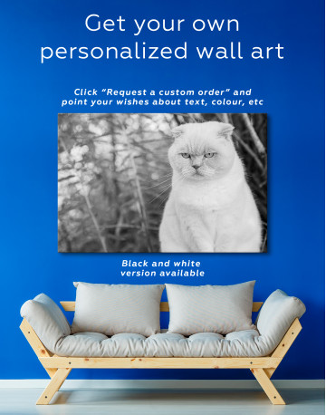 White Bamboo Cat Canvas Wall Art - image 3