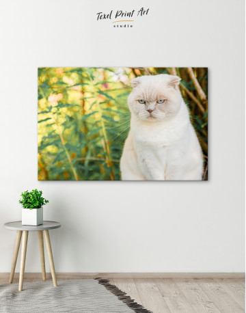 White Bamboo Cat Canvas Wall Art - image 4