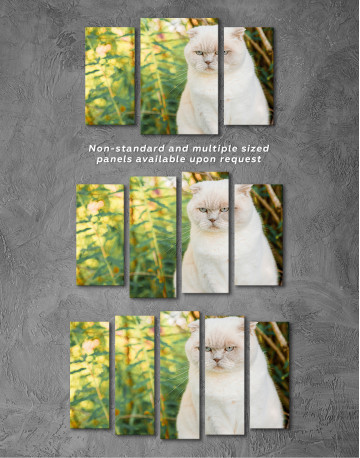 White Bamboo Cat Canvas Wall Art - image 5