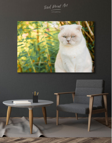White Bamboo Cat Canvas Wall Art - image 6