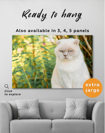 White Bamboo Cat Canvas Wall Art - image 7