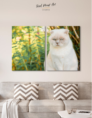 White Bamboo Cat Canvas Wall Art - image 10