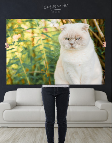 White Bamboo Cat Canvas Wall Art - image 1