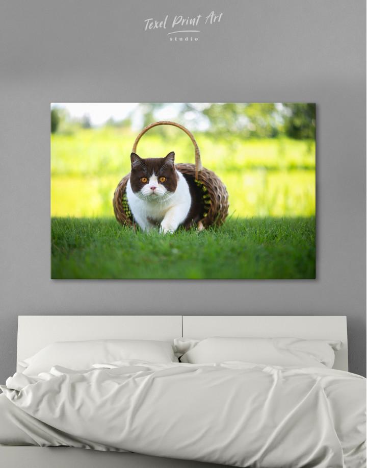 British Shorthair Cat on the Grass Canvas Wall Art