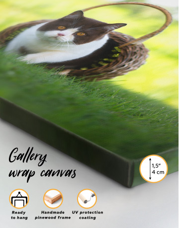 British Shorthair Cat on the Grass Canvas Wall Art - image 8
