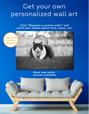 British Shorthair Cat on the Grass Canvas Wall Art - image 7