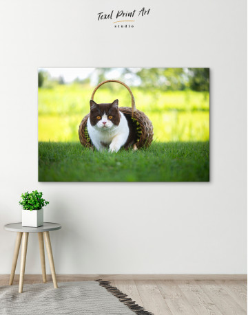 British Shorthair Cat on the Grass Canvas Wall Art - image 6