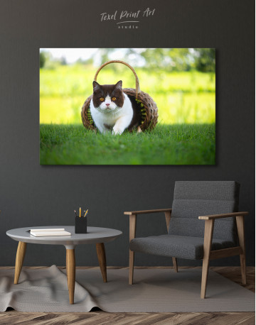 British Shorthair Cat on the Grass Canvas Wall Art - image 4