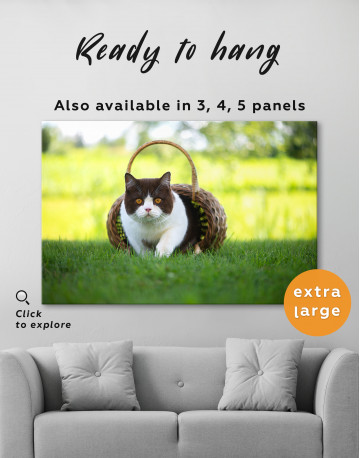 British Shorthair Cat on the Grass Canvas Wall Art - image 3