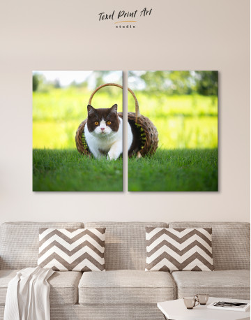 British Shorthair Cat on the Grass Canvas Wall Art - image 9