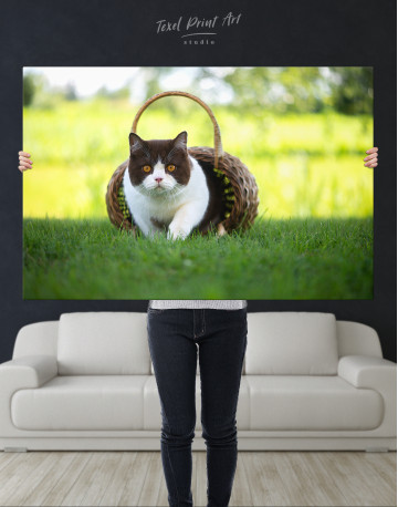 British Shorthair Cat on the Grass Canvas Wall Art - image 10