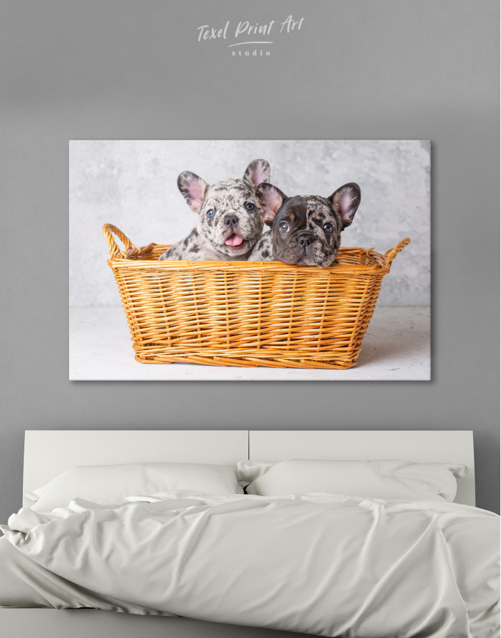 French Bulldog Puppies in Basket Canvas Wall Art