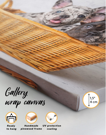 French Bulldog Puppies in Basket Canvas Wall Art - image 2